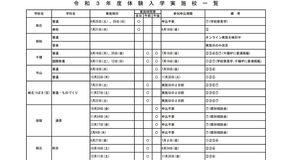 令和3年度公立高校体験入学日程!